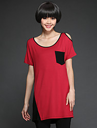 Women's Casual Contrast Color Strapless T Shirt