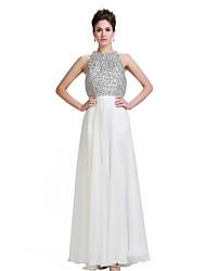 Formal Evening Dress - Ivory A-line Jewel Floor-length Chiffon/Stretch Satin