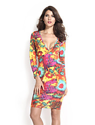 Women's Long Sleeves Orange Multi Color Print Body-hugging Midi Dress