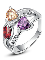 T&C Women's Exquisite Triple Heart Sapphire Fashion Ring 18K White Gold Plated Shining Colourful Austria Crystal Jewelry