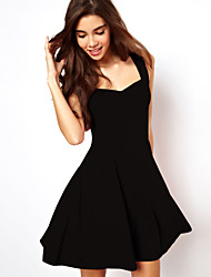 A.H.W  Women's Sexy/Casual/Party Wide Neck Sleeveless Dresses (Cotton)