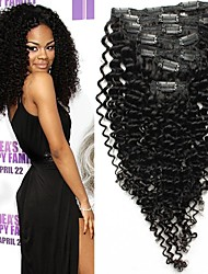 """7pcs / Set 12 """"-26"""" vierge brésilienne de cheveux bouclés natrual noire à pince dans les cheveux crépus humaine unrocessed tisse"""