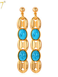 U7® Women's  New 18K Gold Plated Semi-precious Stone Turquoise Jewelry Wholesale Long Drop Earrings