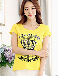 Damen T-shirt Sommer Kurzarm Weiß / Schwarz / Gelb Baumwolle Mittel