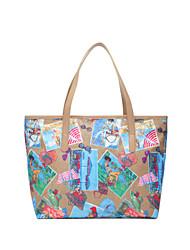mulheres bolsa de pano impermeável e saco de nylon praia retro bolsas de impressão em cores de lazer ombro