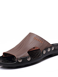 Men's Shoes Outdoor/Casual Leather Sandals Black/Blue/Brown/Gray