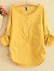 Women's Casual/Daily Simple Spring Blouse,Solid Long Sleeve Pink / White / Green / Yellow Medium