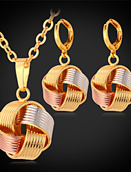 TopGold New Cute Multi Color 3 Tone Drop Charm Necklace Earrings Set 18K Gold Plated Jewelry  for Women High Quality