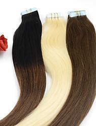 40pieces 2.5G / st 100g 12 tums-26inch jungfru tejp människohår förlängning # 6 band i mänskliga hårförlängningar 004