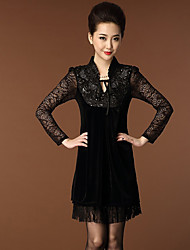 Women's Vintage Sexy Beach Casual Cute Party Micro Elastic Long Sleeve Above Knee Dress (Cotton)
