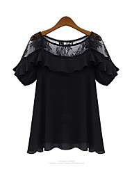 Women's Casual Micro-elastic Short Sleeve Regular Blouse (Chiffon) (More Colors)
