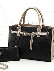 Women PU Shopper Shoulder Bag / Tote / Clutch - Gold / Black