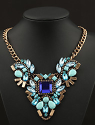 Women's Statement Necklaces Pearl Necklace Crystal Gemstone Pearl Alloy Statement Jewelry Blue Pink Jewelry