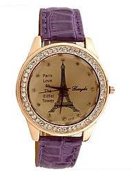 c&c unisex strass ocasional relógio de couro falso
