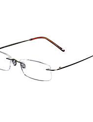 [lentes libres] gafas de lectura de titanio rectángulo sin montura