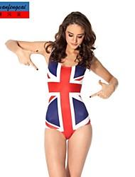 CMFC®Women's Elasticated Jumpsuit Sexy Bodycon Union Jack Flag Print Print Swimwear Hot Lady's Top Wear