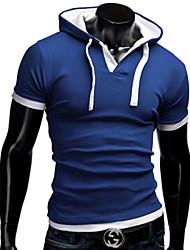 T-Shirts ( Mistura de Algodão ) MEN - Casual Decote em V - Manga Curta