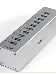 ORICO A3H10 10-Port USB 3.0 High Speed HUB w/ Switch / LED Indicator / US Plug Power Adapter