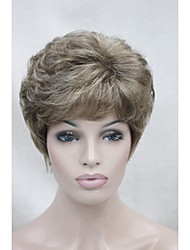 New Light Brown with golden blonde highlight short curly women's synthetic wig