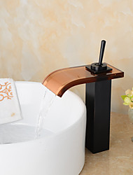 Contemporary ORB Bathroom Waterfall Sink Faucet / Glass Spout - Transparent Brown + Black