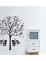 decalques de parede adesivos de parede, parede dos desenhos animados árvore de sombra fezes pvc adesivos