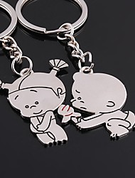 Alloy Silver Plated Keychain Key Ring for Lover Valentine's Day(One Pair)