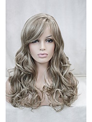"Light Brown Mix Blonde Curly 22"" Long Side Skin Part Top Women's Synthetic Wig"