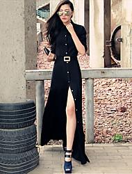 De las mujeres Vestido Asimétrico Escote Chino - Algodón - Manga Larga