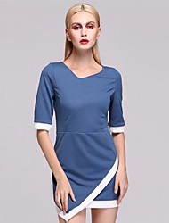 Women's Bodycon Micro-elastic ½ Length Sleeve Asymmetrical Dress (Polyester)