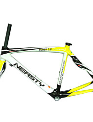 RB-NT28+FK-NG28 Neasty Brand 700C Full Carbon Fiber Frame and Fork 3K/12K  Weave White and Yellow Neasty Logo 1-1/8""