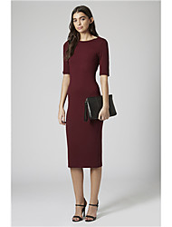 Women's Round ½ Length Sleeve Dresses (Cotton Blend)