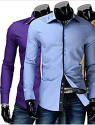 Men's Casual Shirt Collar Long Sleeve Casual Shirts (Cotton Blend)