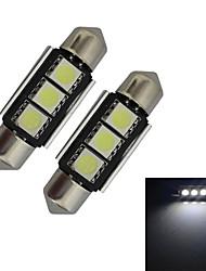 JIAWEN® 2pcs Festoon 36mm 1W 3x5050SMD 60-70LM 6000-6500K Cool White Light LED Car Light (DC 12V)