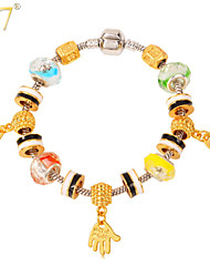 U7® Women's Cute Hands Charms 18K Gold Plated Crystal Beads European DIY Beaded Bracelet