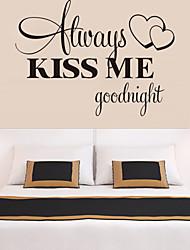 настенные наклейки наклейки для стен, стиль всегда поцелуй меня спокойной ночи английские слова&цитирует наклейки стены PVC