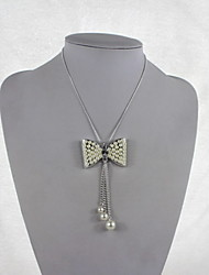 Fashion Women Alloy/Imitation Pearl/Rhinestone Necklace Bow Style Pendant Necklaces Daily/Casual