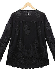 Women's Plus Size XL-5XL A Style Black and White Long Sleeve Lace Shirts