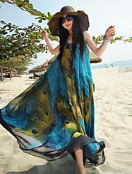 Women's Simplicity/Beach/Casual/Plus Sizes Micro-elastic Print Swing Sleeveless Maxi Dress (Chiffon)