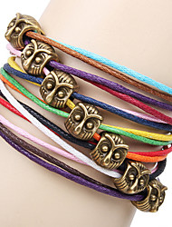 Women's Vintage Owl Multi-Color Cord Bracelet