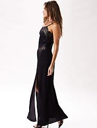 Women's Eye Candy Eyelash Lace Long Dress