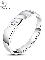 Poetry Dreams Sterling Silver Solitaire Adjustable Ring Men's Ring