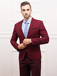 Suits Slim Fit Slim Notch One-Button Polyester Solid 1 Piece burgundy