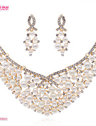 Neoglory Jewelry Clear Rhinestone and Imitaton Pearl Necklace Drop Earring Set for Lady Wedding/Party (More Color)
