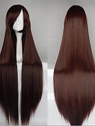 Hot Sale 40 Inches High Temperature Fiber Long Straight Light Brown Cosplay Costume Wig Side Bang