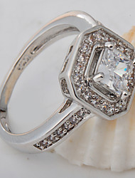High Quality Fashion Platinum 10 KT White Square Drill Zircon Ring