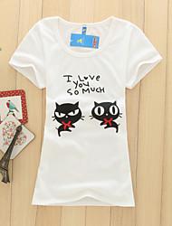 Women's Cute Cat Lovers Print  Short Sleeve Slim T-shirt (Cotton Blends/Lycra)