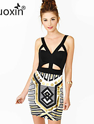 nuoxin® Women's V-Neck Package Buttocks Fashion Print Cultivate One's Morality Stretch The Bandage Sexy Dress