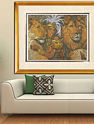 Beauty And the Lion Embroidered Paintings Southeast Asia Diamond Cross Stitch Needlework Wall Home Decor 62*37cm