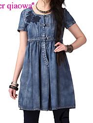 Women's Vintage Embroidery High Waist Denim Dress