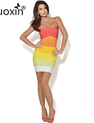 nuoxin® Women's Strapless Gradient Stripe Package Buttocks Cultivate One's Morality Stretch The Bandage Sexy Dress